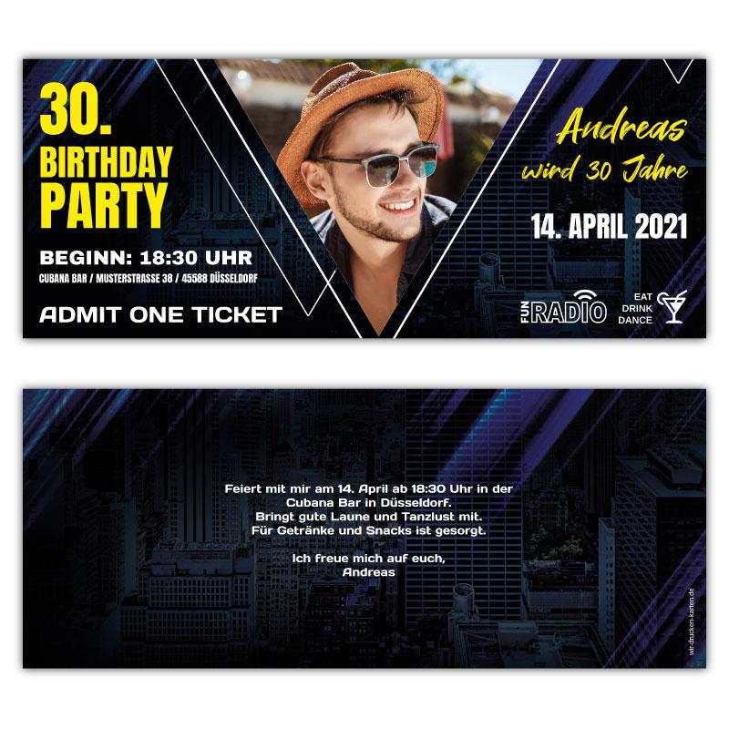 Geburtstagseinladung als Eintrittskarte  Ticket