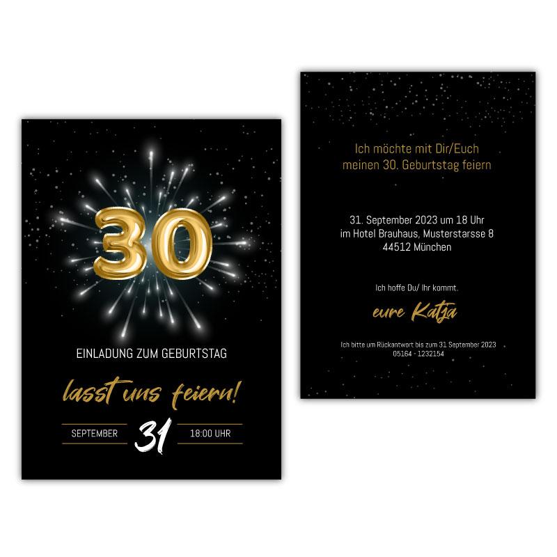 Einladung 30. Geburtstag Ballon gold