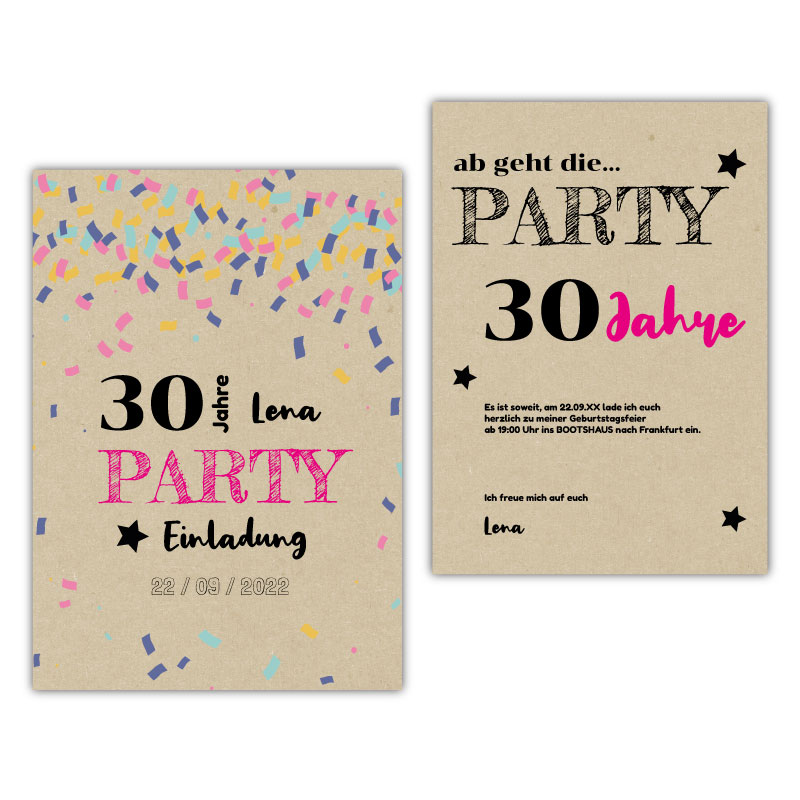 Einladung 30. Geburtstag Konfetti