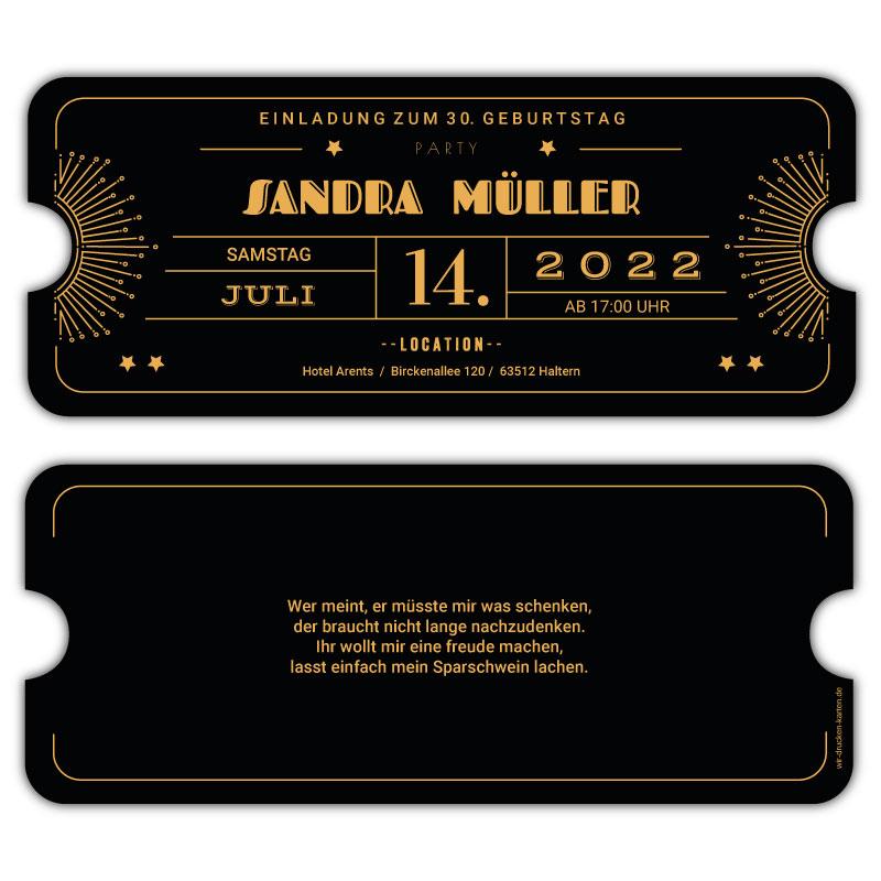 Geburtstagseinladung Ticket Art Deco