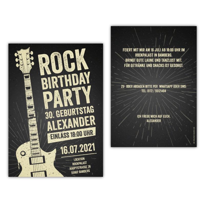 Einladungskarten Rockparty