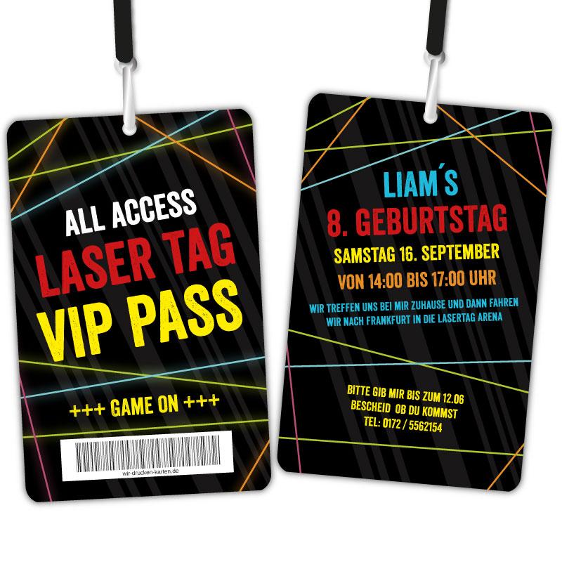 Lasertag Einladungen Kindergeburtstag Backstage Pass