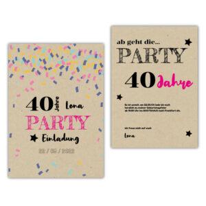 Einladung-40.-Geburtstag-Konfetti-Kraftpapier