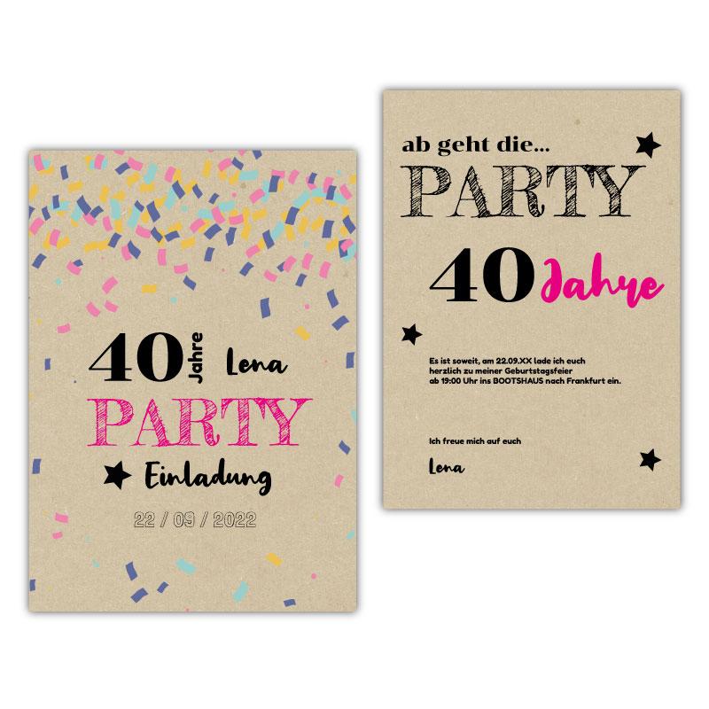 Einladung 40. Geburtstag Konfetti