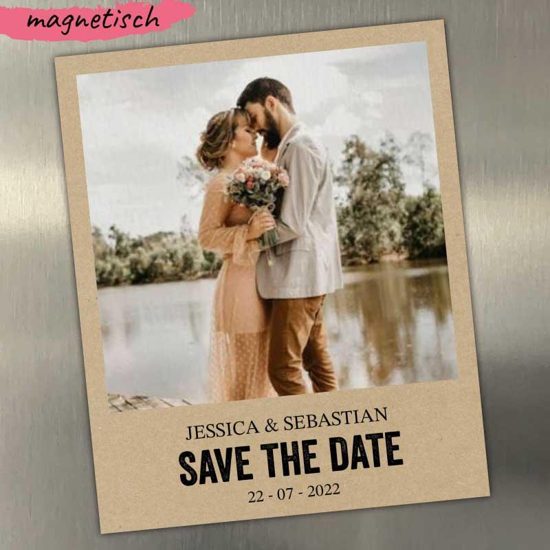 Save the Date Magnet Kraftpapier Optik